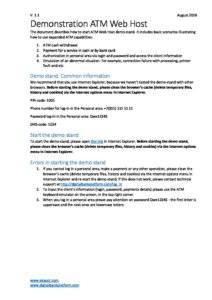 Scenario of demonstration ATM Web Host software
